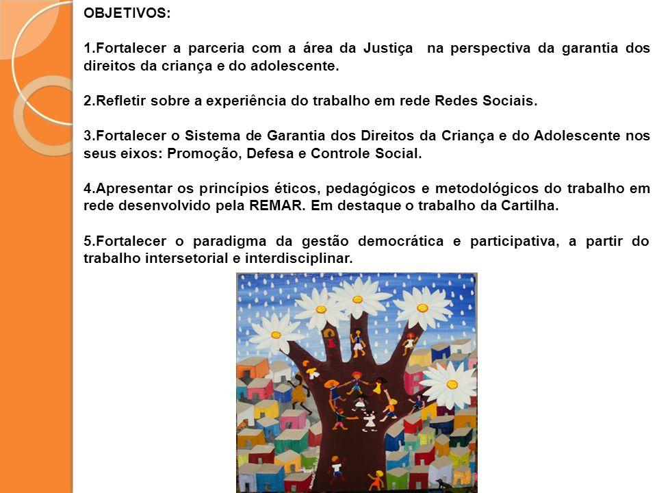 OBJETIVOS:Fortalecer a parceria com a área da Justiça na perspectiva da garantia dos direitos da criança e do adolescente.