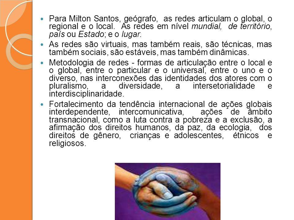 Para Milton Santos, geógrafo, as redes articulam o global, o regional e o local. As redes em nível mundial, de território, país ou Estado; e o lugar.