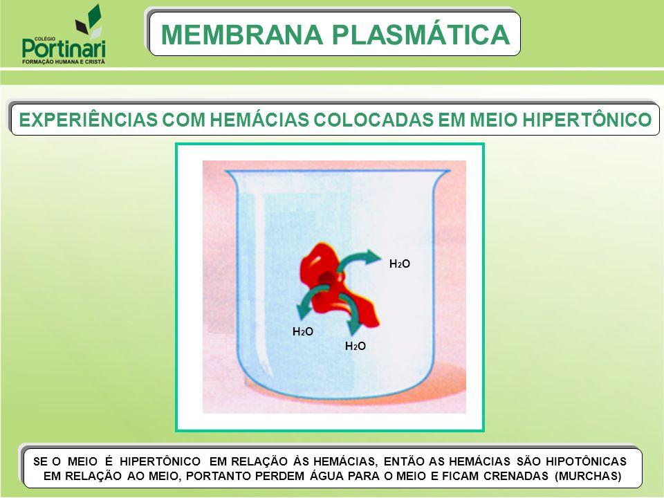 EXPERIÊNCIAS COM HEMÁCIAS COLOCADAS EM MEIO HIPERTÔNICO