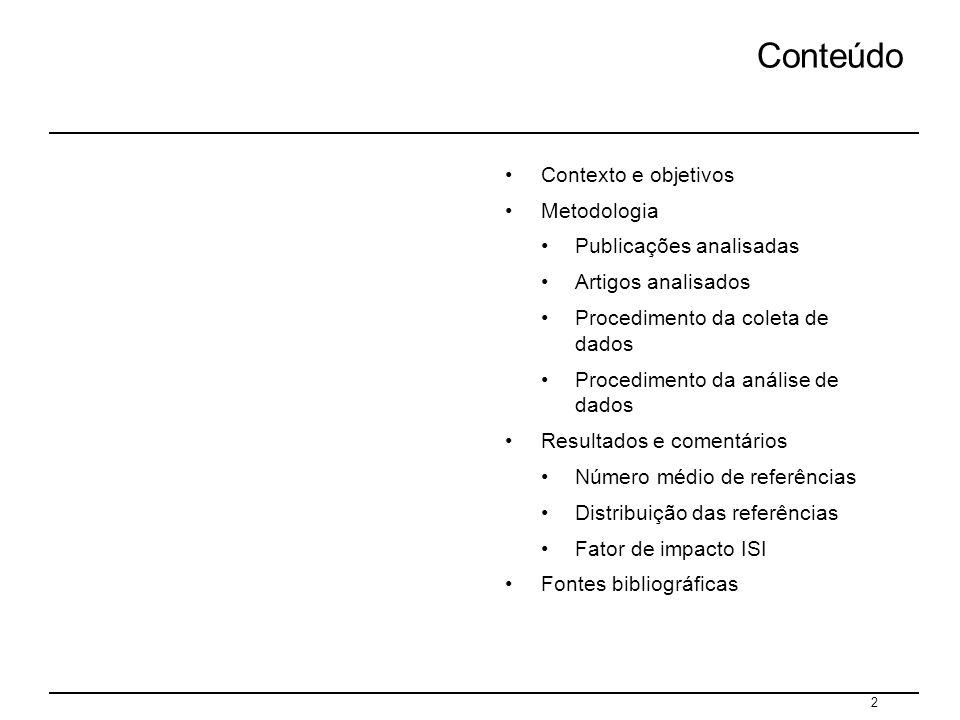 Conteúdo Contexto e objetivos Metodologia Publicações analisadas