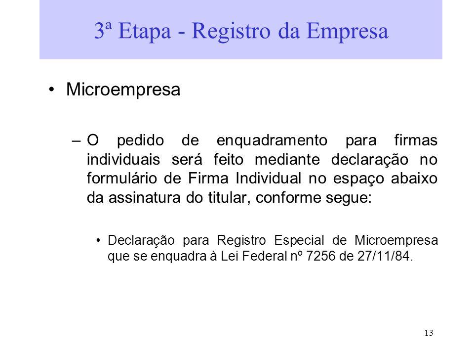 3ª Etapa - Registro da Empresa