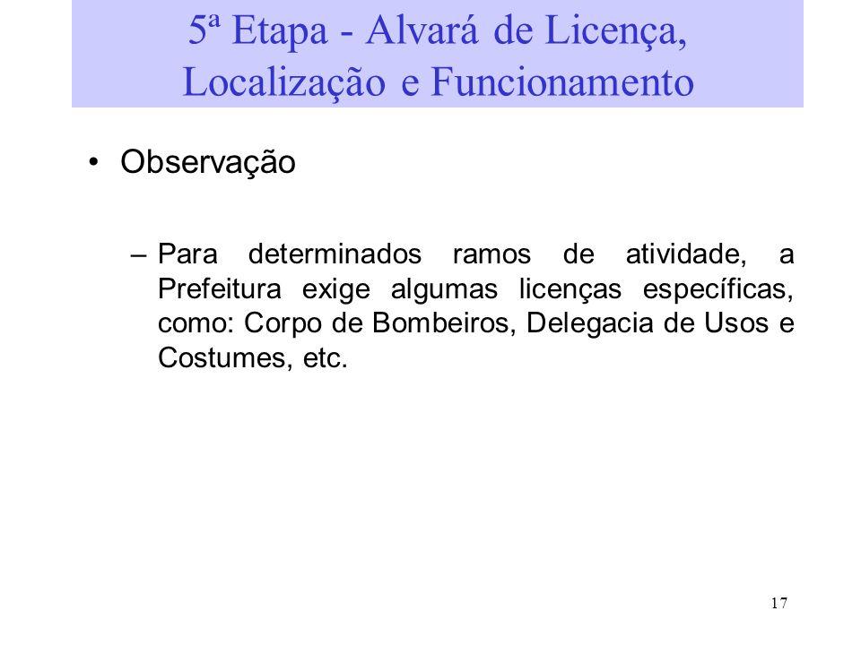 5ª Etapa - Alvará de Licença, Localização e Funcionamento