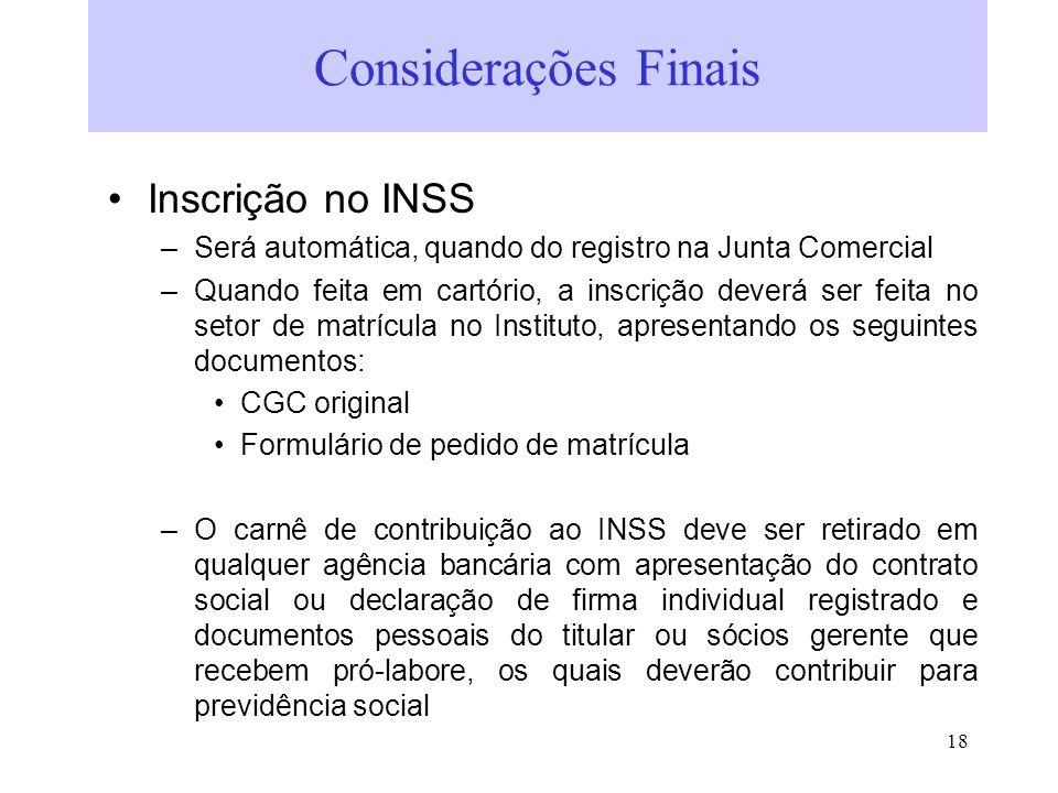 Considerações Finais Inscrição no INSS