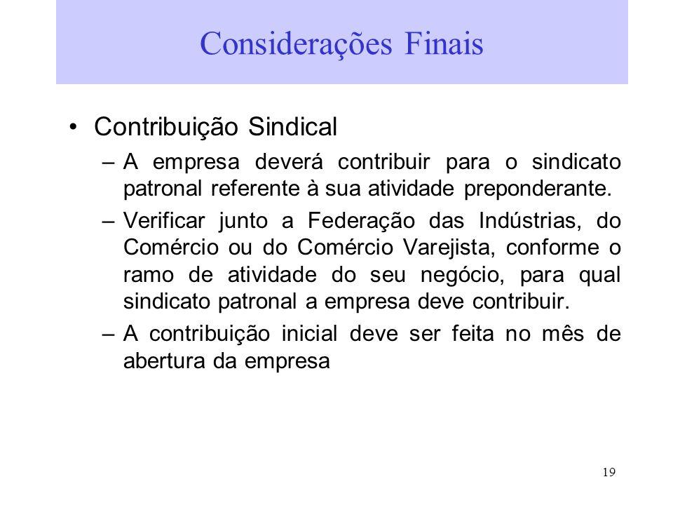 Considerações Finais Contribuição Sindical