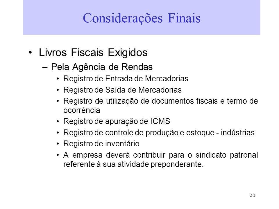 Considerações Finais Livros Fiscais Exigidos Pela Agência de Rendas