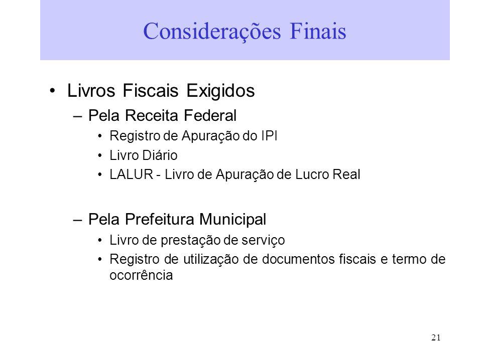 Considerações Finais Livros Fiscais Exigidos Pela Receita Federal