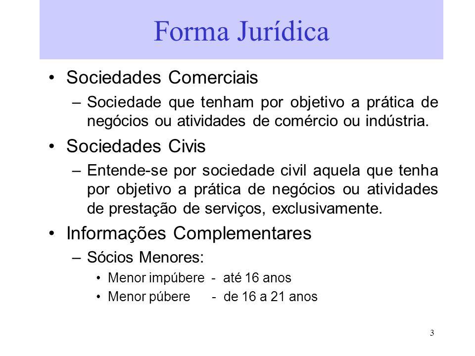 Forma Jurídica Sociedades Comerciais Sociedades Civis