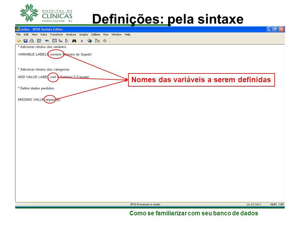 Definições: pela sintaxe