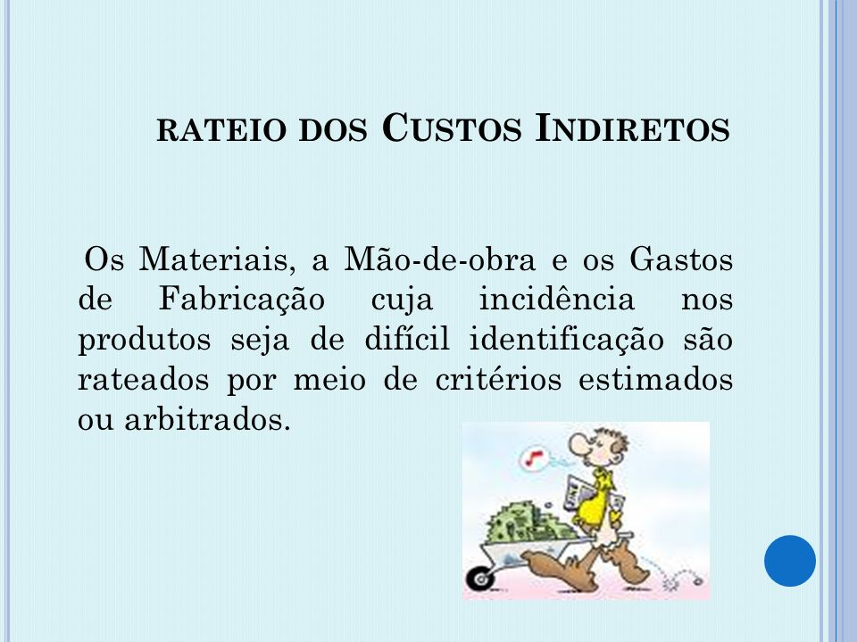 rateio dos Custos Indiretos