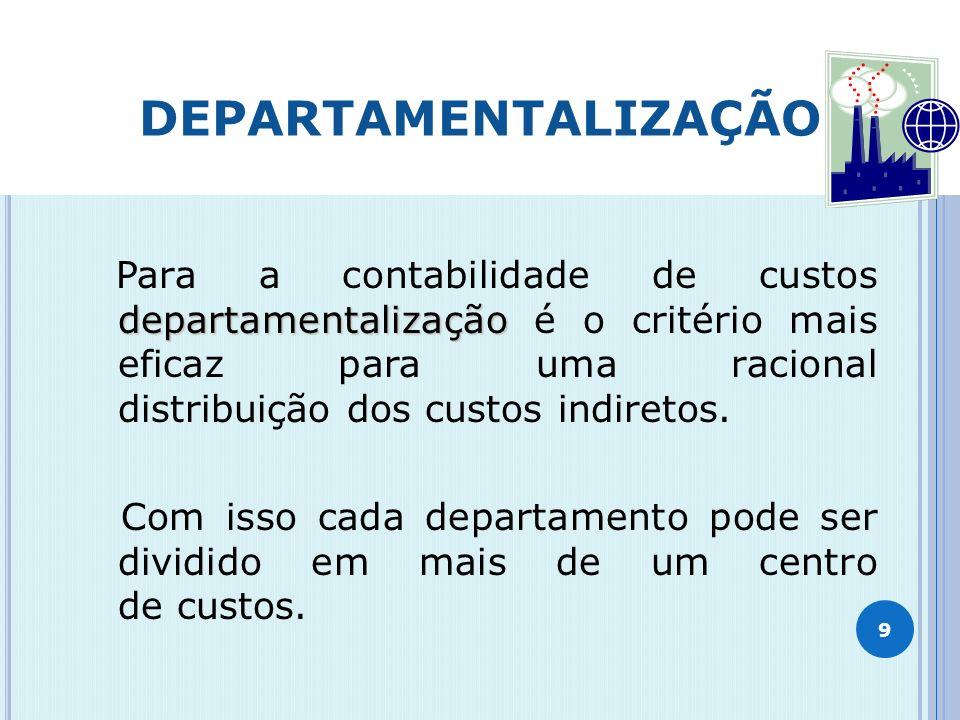 DEPARTAMENTALIZAÇÃO Para a contabilidade de custos departamentalização é o critério mais eficaz para uma racional distribuição dos custos indiretos.