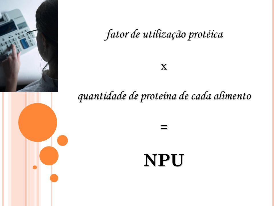 NPU fator de utilização protéica x