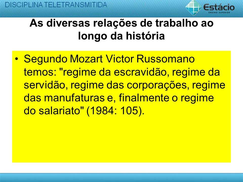 As diversas relações de trabalho ao longo da história