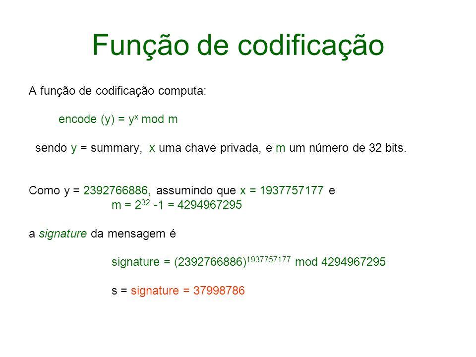 Função de codificação A função de codificação computa: