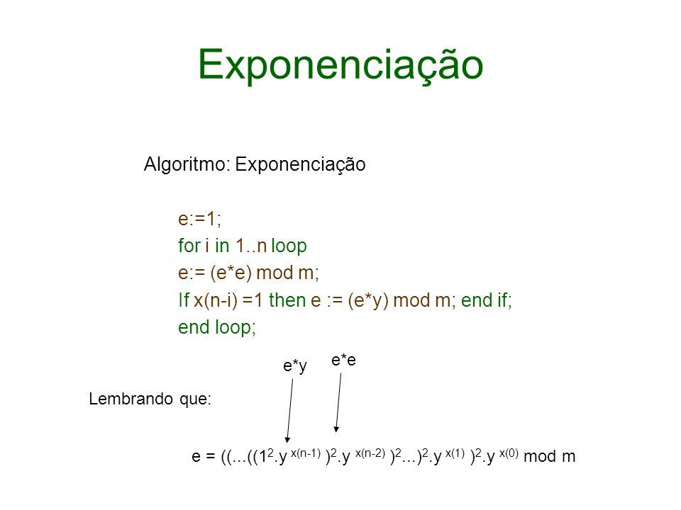 Exponenciação Algoritmo: Exponenciação e:=1; for i in 1..n loop