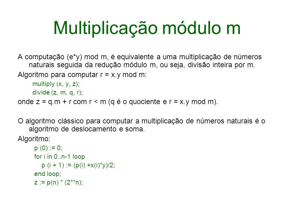 Multiplicação módulo m