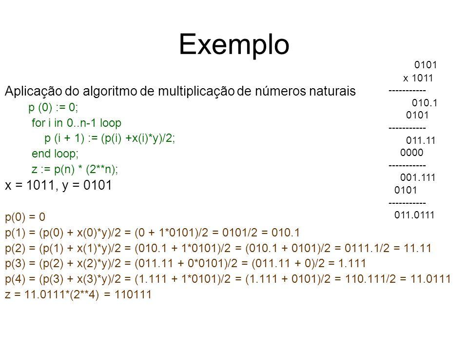 Exemplo Aplicação do algoritmo de multiplicação de números naturais