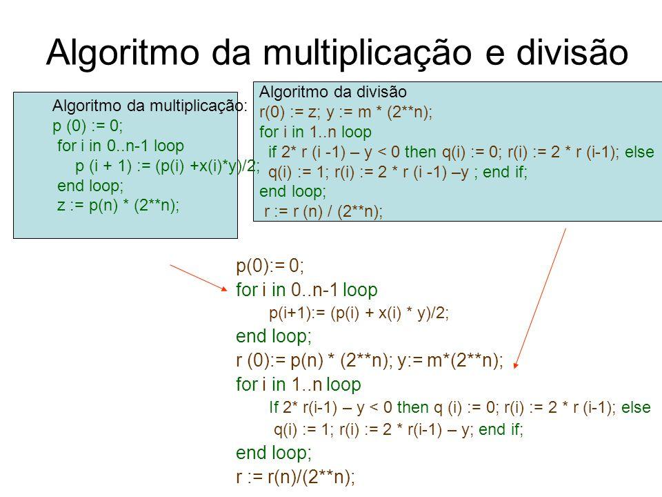 Algoritmo da multiplicação e divisão