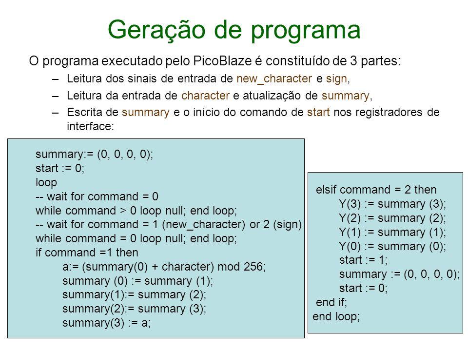 Geração de programa O programa executado pelo PicoBlaze é constituído de 3 partes: Leitura dos sinais de entrada de new_character e sign,