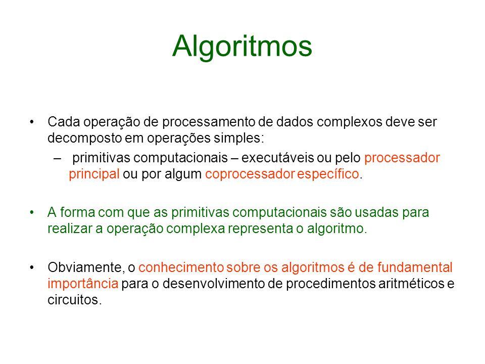 Algoritmos Cada operação de processamento de dados complexos deve ser decomposto em operações simples: