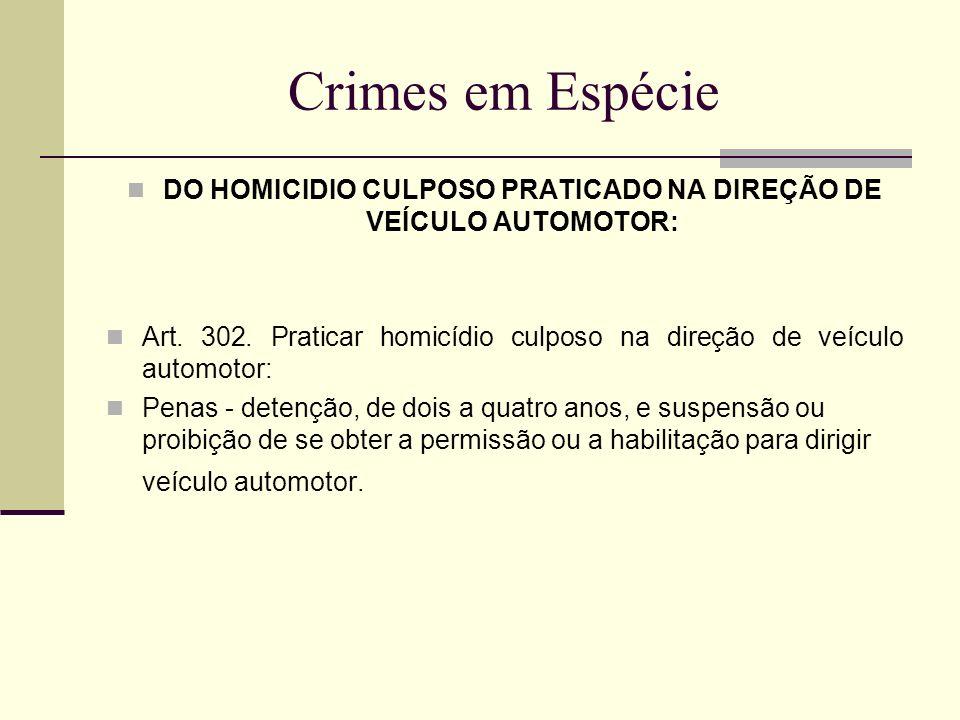 DO HOMICIDIO CULPOSO PRATICADO NA DIREÇÃO DE VEÍCULO AUTOMOTOR: