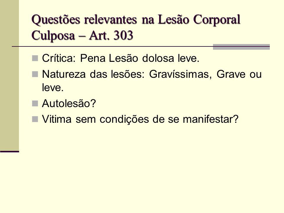 Questões relevantes na Lesão Corporal Culposa – Art. 303