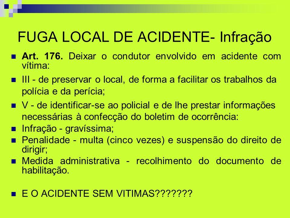 FUGA LOCAL DE ACIDENTE- Infração