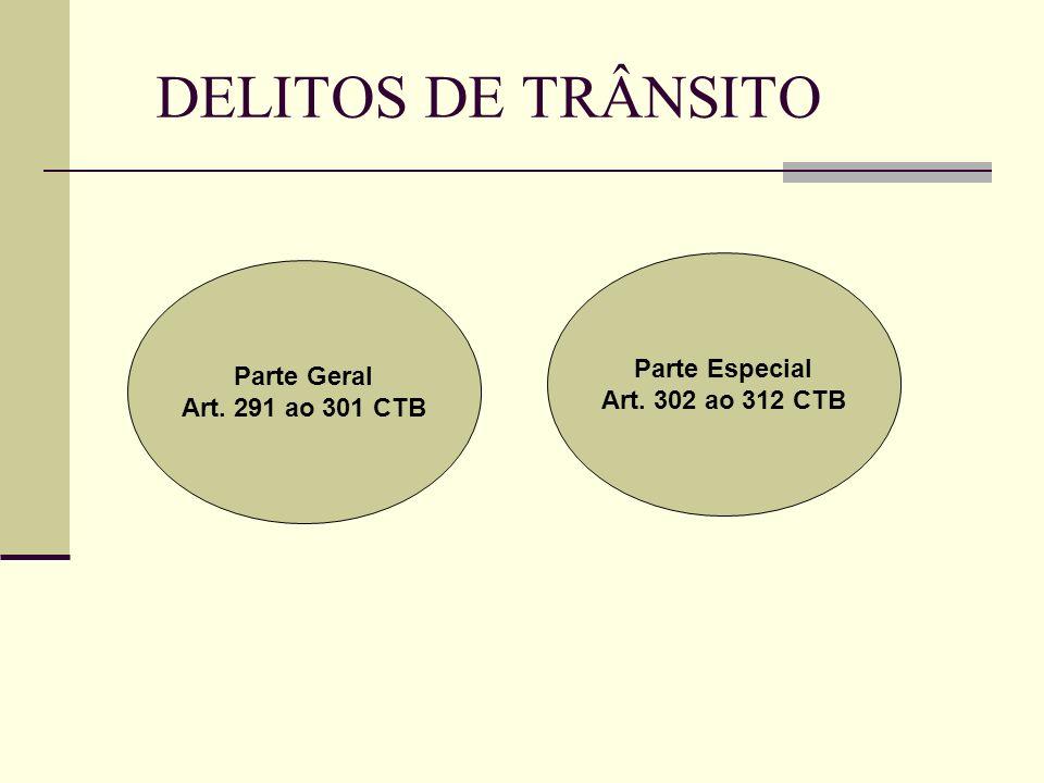 DELITOS DE TRÂNSITO Parte Especial Parte Geral Art. 302 ao 312 CTB