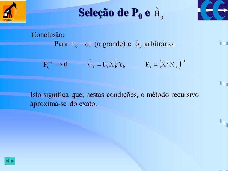 Seleção de P0 e Conclusão: Para (α grande) e arbitrário: