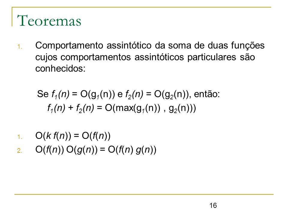 Teoremas Comportamento assintótico da soma de duas funções cujos comportamentos assintóticos particulares são conhecidos:
