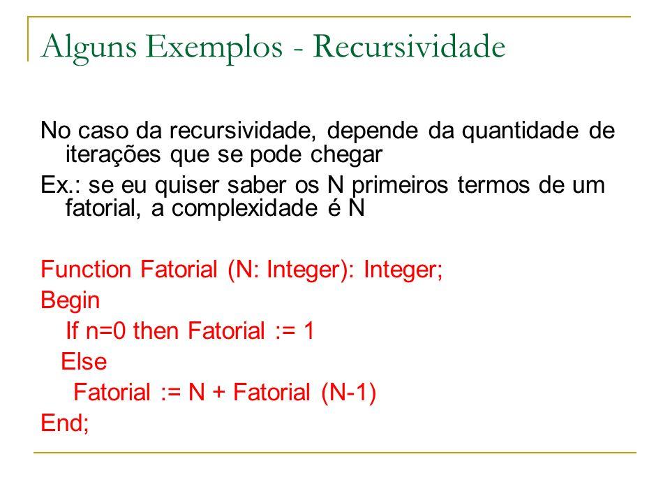 Alguns Exemplos - Recursividade