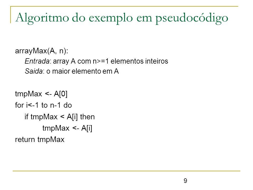 Algoritmo do exemplo em pseudocódigo