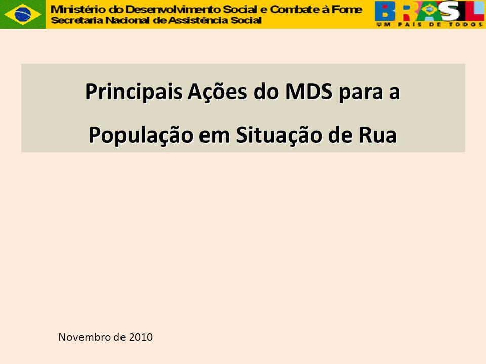 Principais Ações do MDS para a População em Situação de Rua