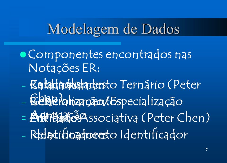 Modelagem de Dados Componentes encontrados nas Notações ER: