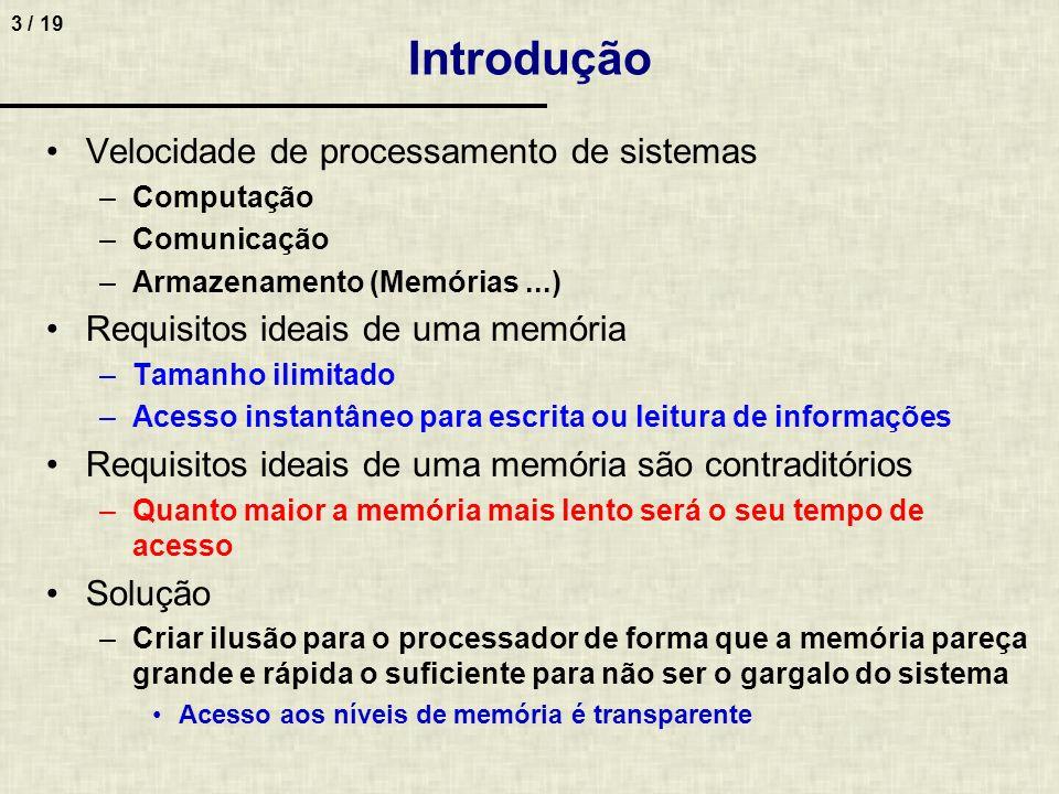 Introdução Velocidade de processamento de sistemas