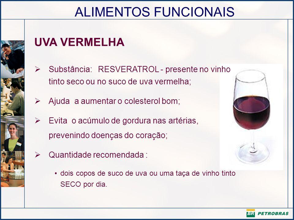 UVA VERMELHASubstância: RESVERATROL - presente no vinho tinto seco ou no suco de uva vermelha; Ajuda a aumentar o colesterol bom;