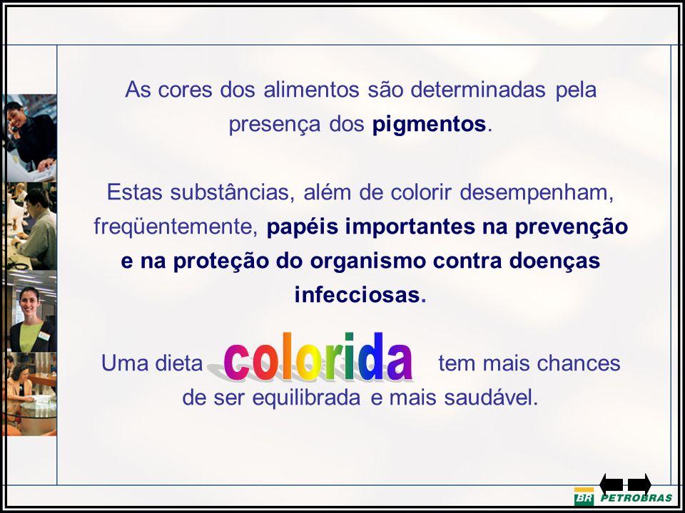 As cores dos alimentos são determinadas pela presença dos pigmentos.