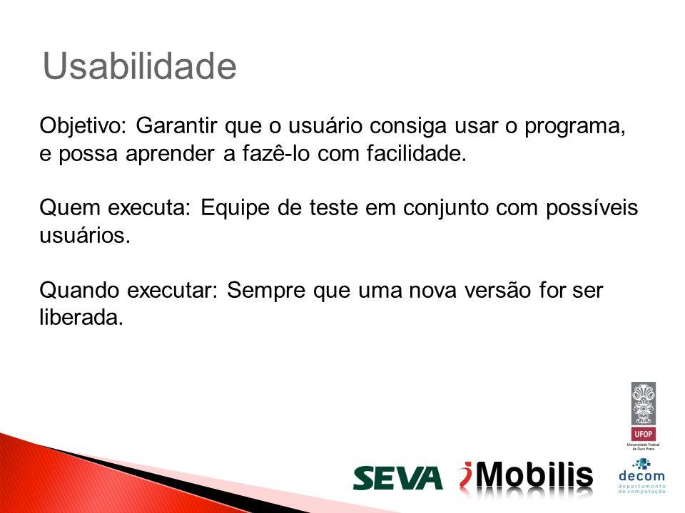 Usabilidade Objetivo: Garantir que o usuário consiga usar o programa, e possa aprender a fazê-lo com facilidade.