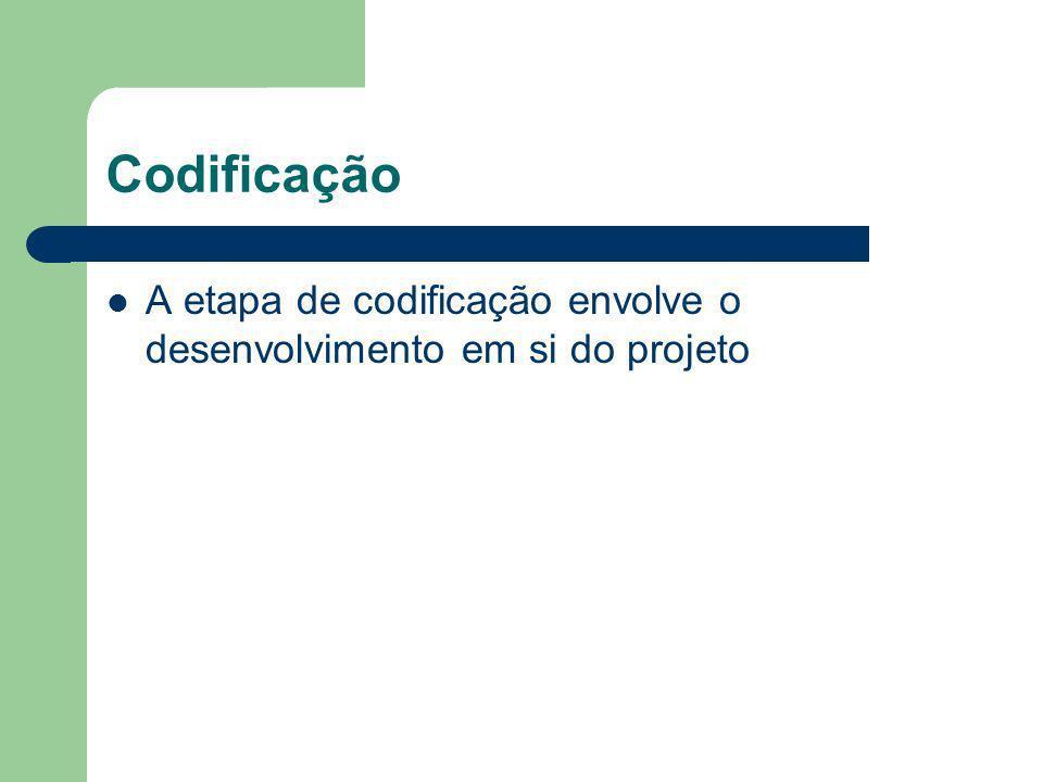 Codificação A etapa de codificação envolve o desenvolvimento em si do projeto