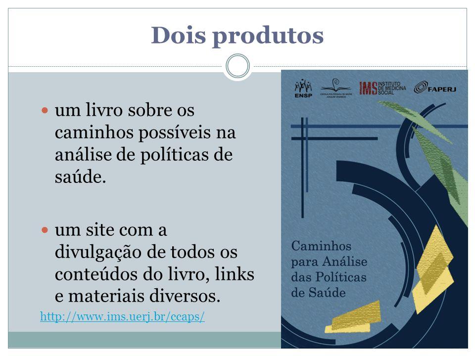 Dois produtos um livro sobre os caminhos possíveis na análise de políticas de saúde.