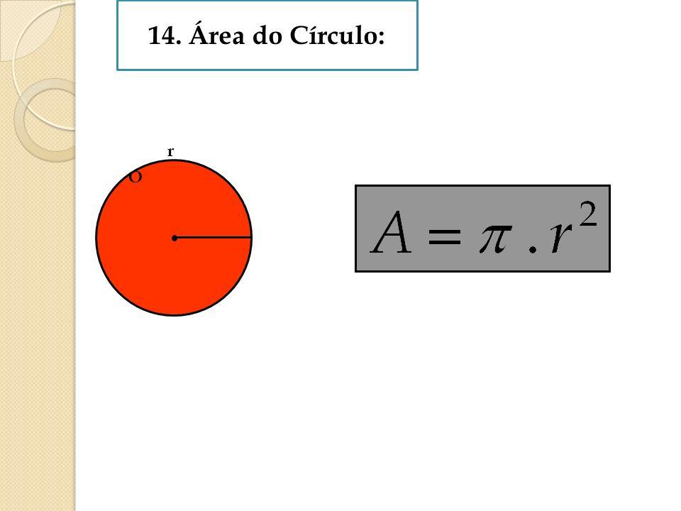 14. Área do Círculo: r O