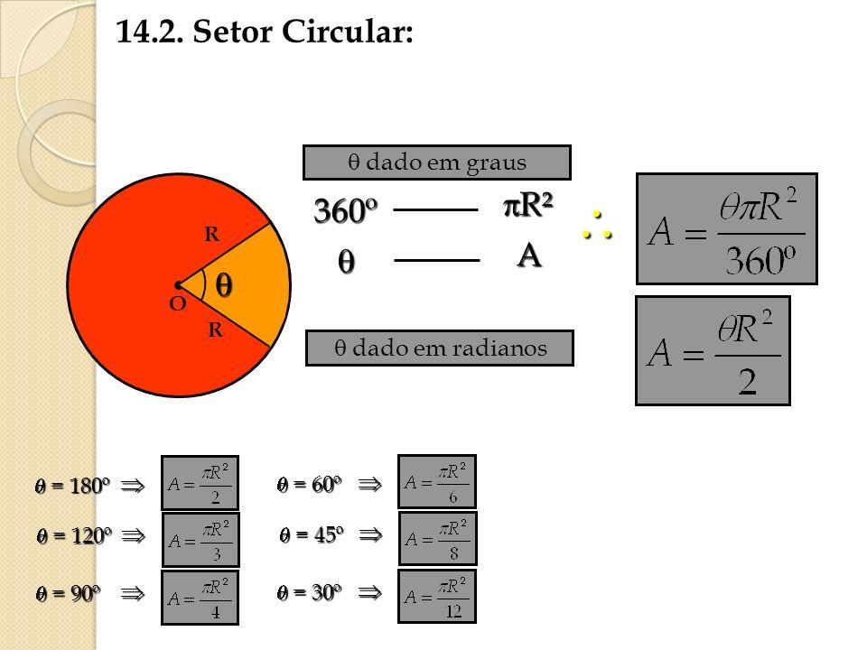  14.2. Setor Circular: R² 360º A    dado em graus
