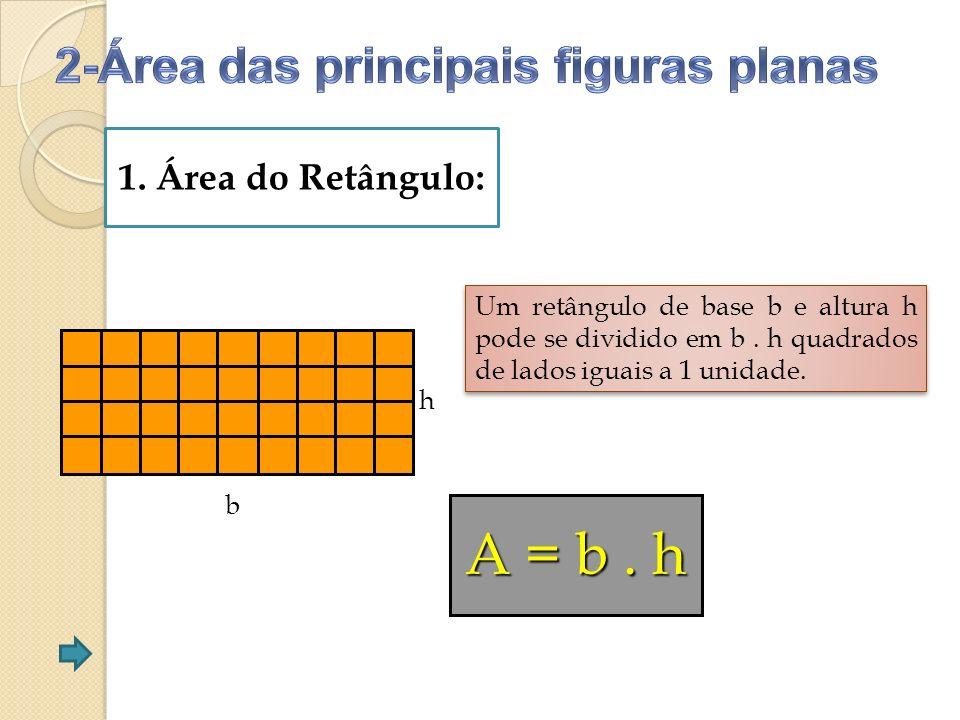 A = b . h 2-Área das principais figuras planas 1. Área do Retângulo: