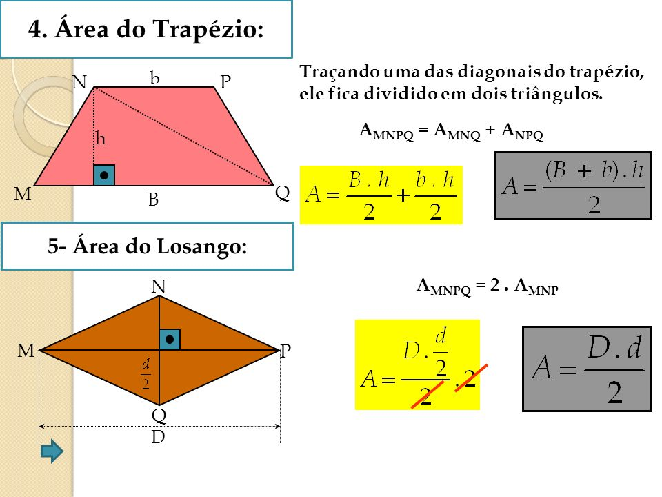 4. Área do Trapézio: 5- Área do Losango: