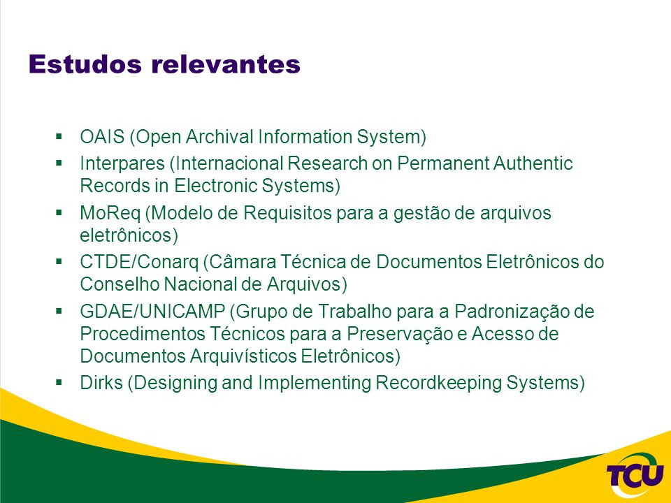 Estudos relevantes OAIS (Open Archival Information System)