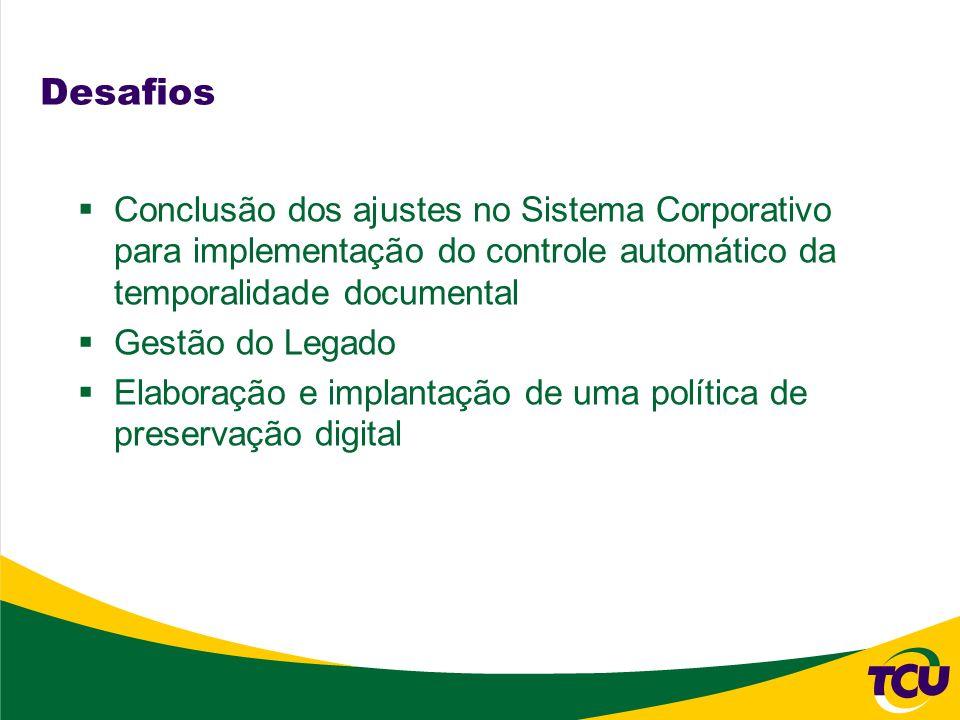 Desafios Conclusão dos ajustes no Sistema Corporativo para implementação do controle automático da temporalidade documental.