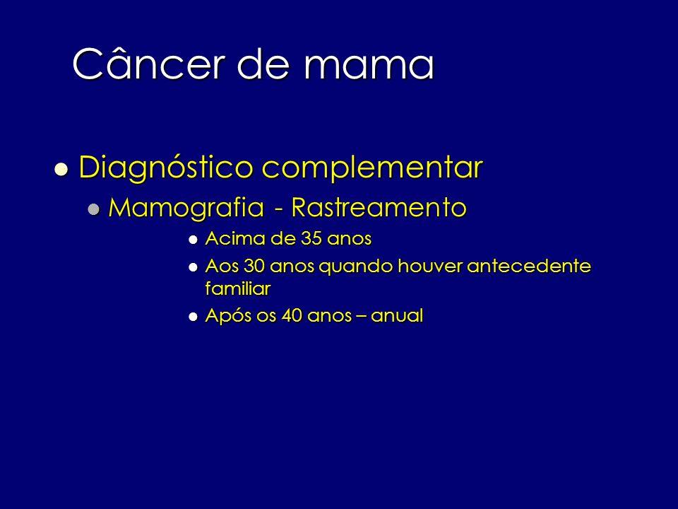Câncer de mama Diagnóstico complementar Mamografia - Rastreamento
