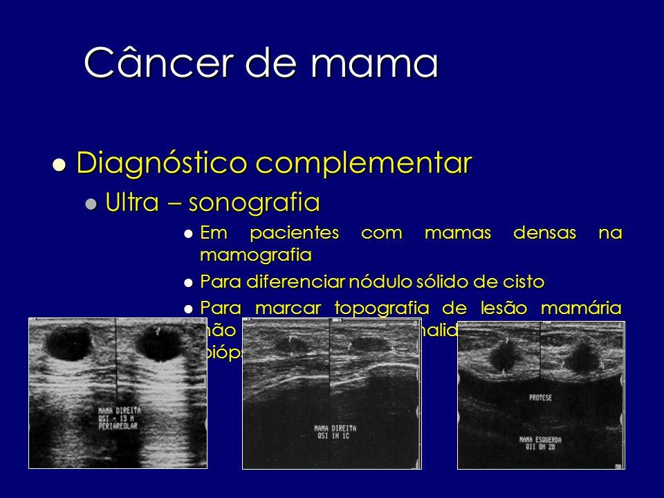 Câncer de mama Diagnóstico complementar Ultra – sonografia