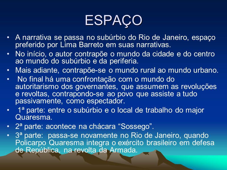 ESPAÇO A narrativa se passa no subúrbio do Rio de Janeiro, espaço preferido por Lima Barreto em suas narrativas.