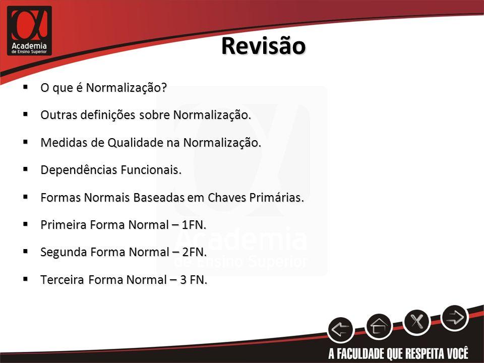 Revisão O que é Normalização Outras definições sobre Normalização.