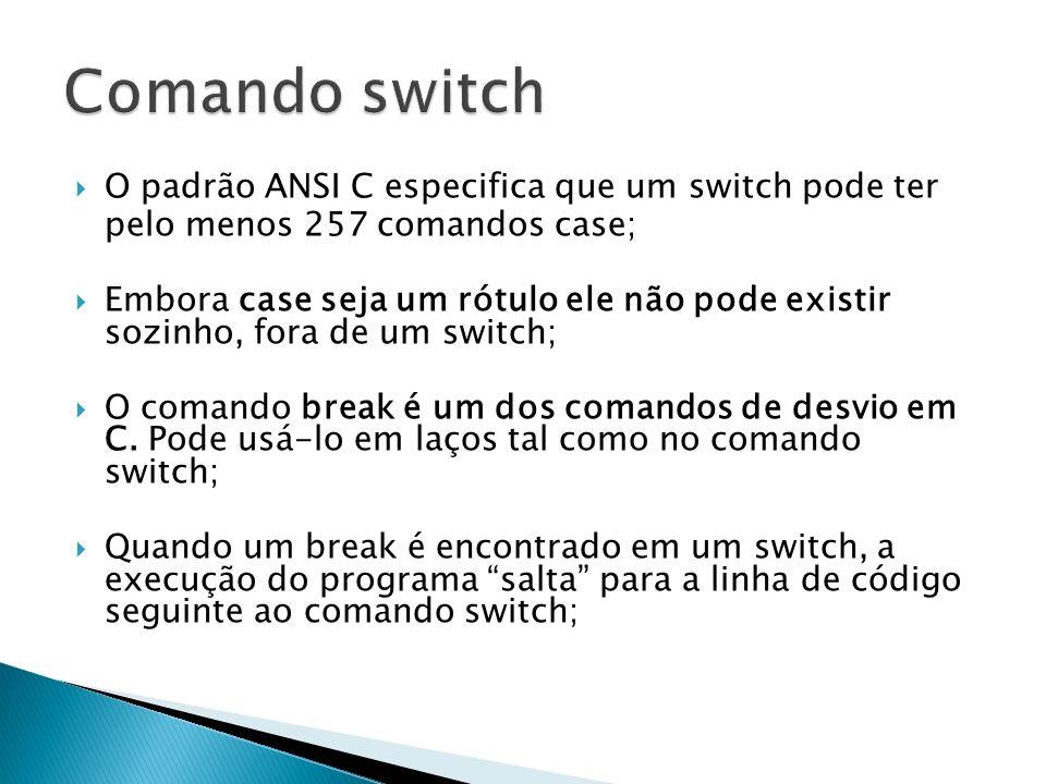 Comando switch O padrão ANSI C especifica que um switch pode ter